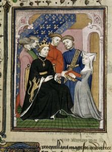 Detail of a miniature of Christine de Pizan presenting her book to Charles VI. BL Harley 4431 f. 178. [Source]