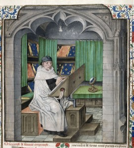 Detail of a miniature of Vincent of Beauvais, a Dominican friar, writing at his desk. BL Royal 14 E I f. 3. [Source]