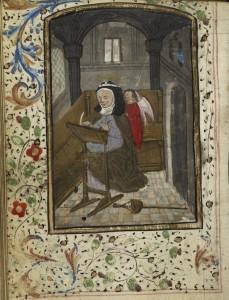 BL, MS Harley 2850, fol. 47v. St Brigit of Sweden is shown writing.