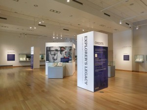 """View of the exhibit space and the """"Explorer's Legacy"""" exhibition."""