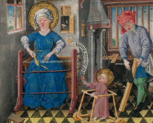 Mary weaves while Joseph planes wood and the infant Jesus uses a walker. The Hours of Catherine of Cleves, Morgan Library MS M.917. [Source]