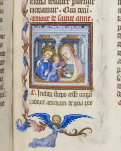 Anne sits with her arm around Mary, distracting the infant Jesus with a toy. British Library Egerton 1070, f. 97.