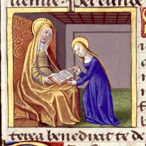 Anne teaches Mary how to read. Detail from Hours of Charles VIII. Biblioteca Nacional de España, Vitr. 24-1, f. 108v.
