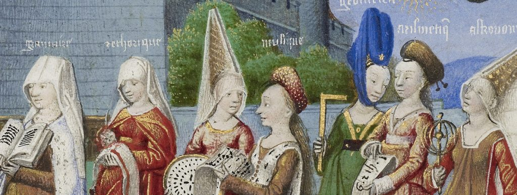 """Detail of """"Philosophy Presenting the Seven Liberal Arts to Boethius, ca. 1460. Getty Museum Ms. 42, f. 2v"""