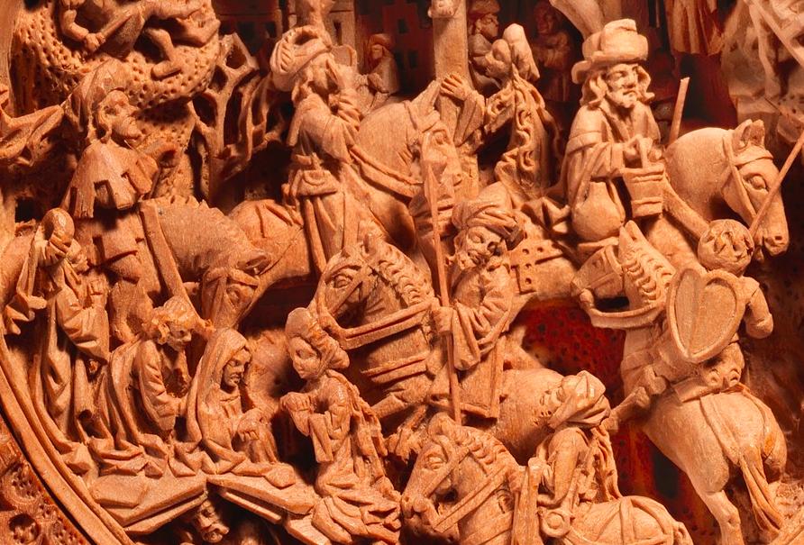 Detail of prayer nut, ca. 1510, showing crowd at the foot of Jesus' cross. [Metropolitan Museum of Art, 17.190.475