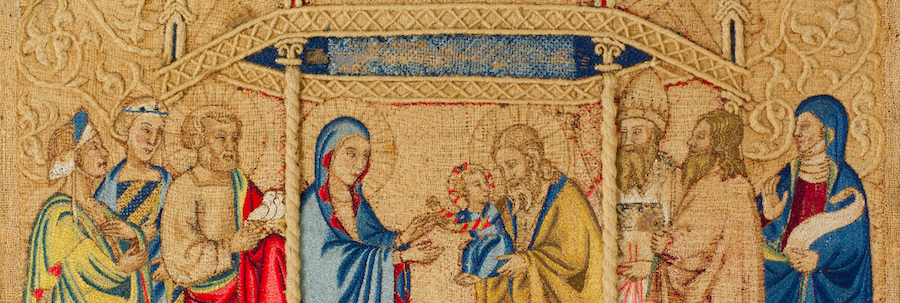 """Detail of a silk embroidery, """"The Presentation in the Temple"""", 14th c. Getty Museum, 60.148.2"""