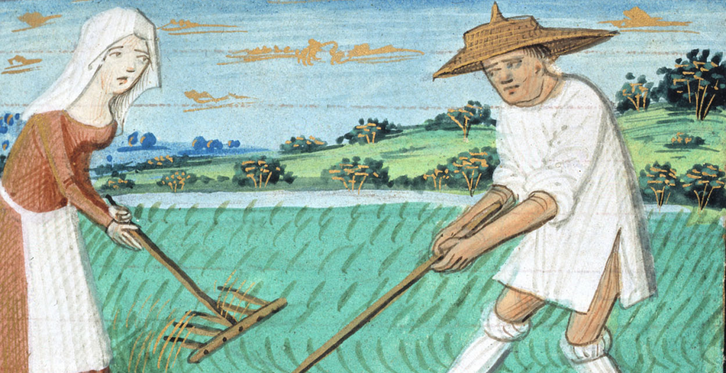 Detail of the calendar image for June from the Playfair Hours. France, ca. 1480s. V&A Museum, MSL/1918/475.