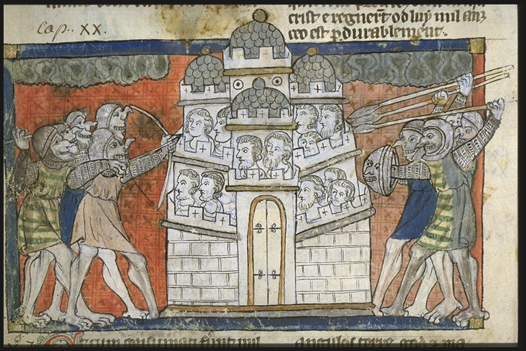 The people of Gog and Magog attacking a city. From a French/Anglo-Norman verse apocalypse, ca. 1220-1270. Toulouse, Bibliothèque municipale, MS 815, f. 49v.